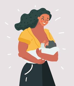 Schöne mutter, die ihr baby stillt