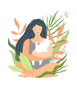 Schöne mutter und baby blumenmuster. junge frau, die das flache illustrationsdesign des babys hält.