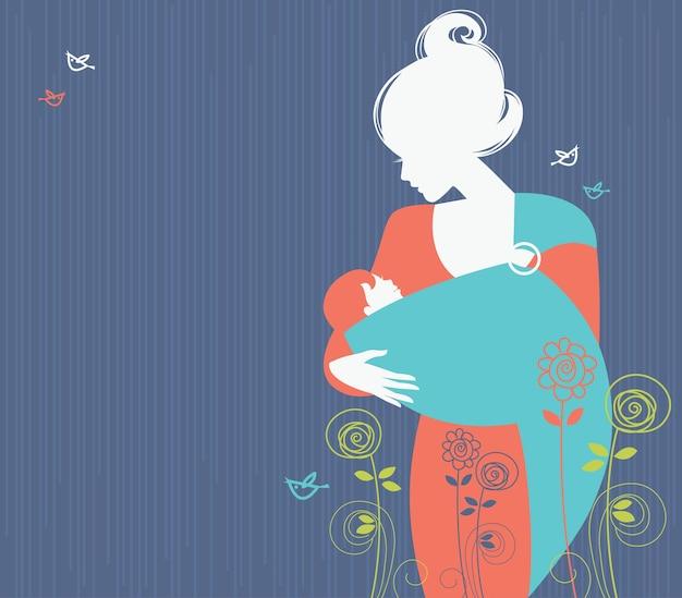Schöne muttersilhouette mit baby im tragetuch und blumenhintergrund