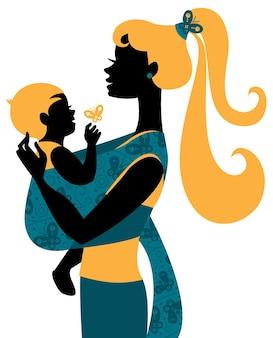 Schöne muttersilhouette mit baby im tragetuch