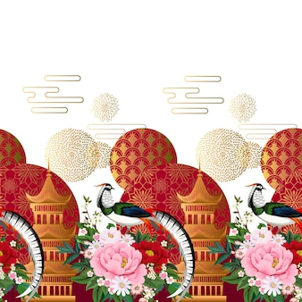 Schöne nahtlose grenze mit diamantfasan, der auf pfingstrosenzweig mit blühender sakura, pflaume und gänseblümchen für sommerkleid im chinesischen stil sitzt