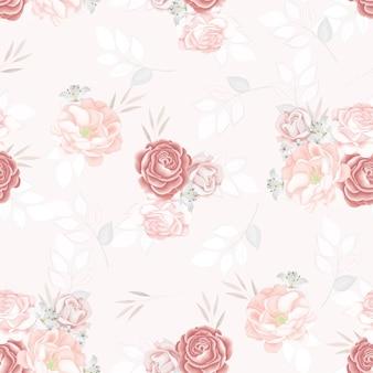 Schöne nahtlose musterblume und blätter