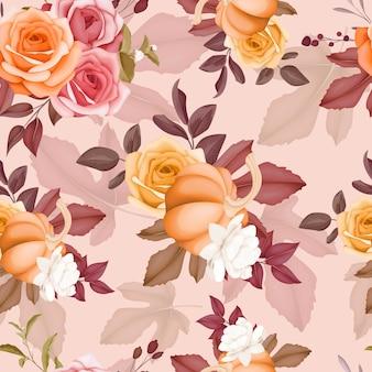 Schöne nahtlose musterblume und lässt herbst fallen
