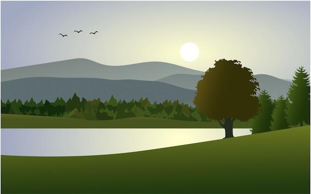 Schöne natur am morgen