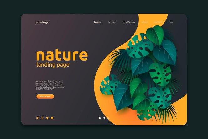 Schöne natur landing page vorlage