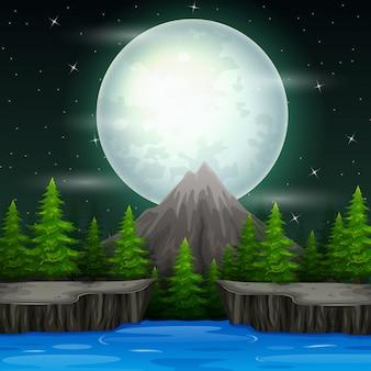 Schöne naturlandschaft am nachthintergrund