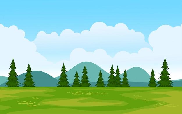 Schöne naturlandschaft mit bäumen und grasland
