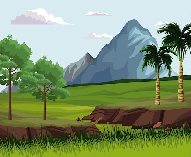 Schöne naturlandschaft mit bergen