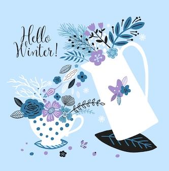Schöne neujahrskarte mit wasserkocher, tasse, blumen, blättern und mit der aufschrift hallo winter.