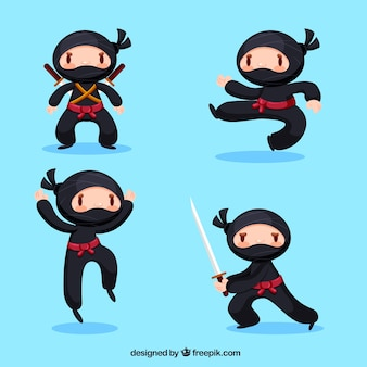 Schöne ninja charakter kollektion mit flachem design
