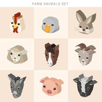 Schöne nutztiere stellen isometrische 3d-infografik ein