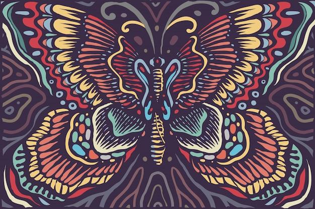 Schöne östliche mandala butterfly vintage colors