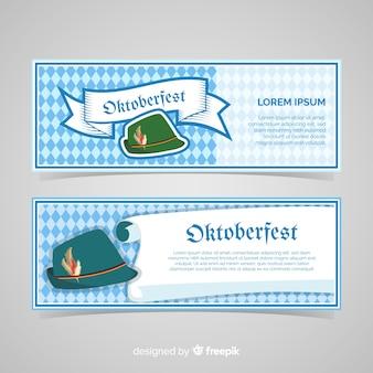 Schöne oktoberfest-banner mit flachem design