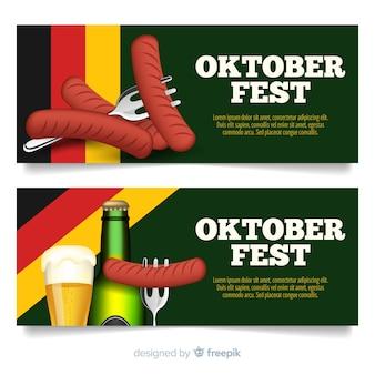 Schöne oktoberfest-banner mit realistischem design