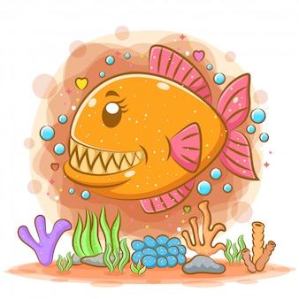 Schöne orange piranha schwimmen tief im meer