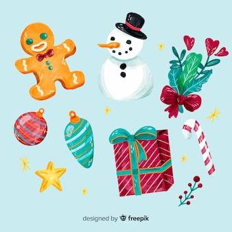 Schöne packung aquarell weihnachten elemente