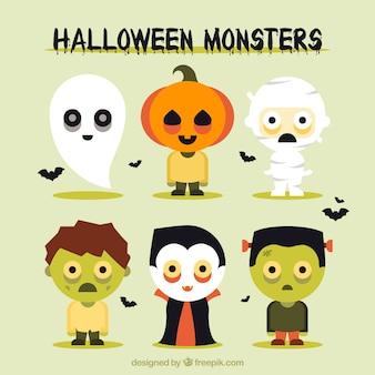 Schöne packung von halloween-monster