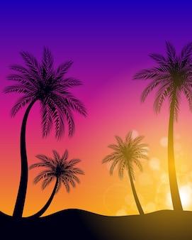 Schöne palme blatt blatt silhouette hintergrund