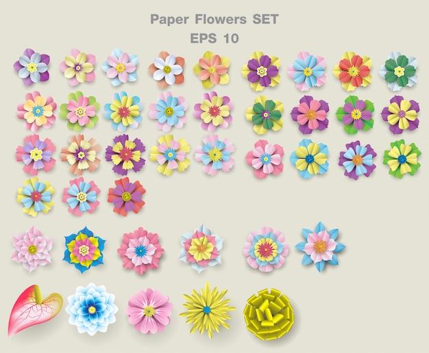 Schöne papierblumen mehrfarbig eingestellt