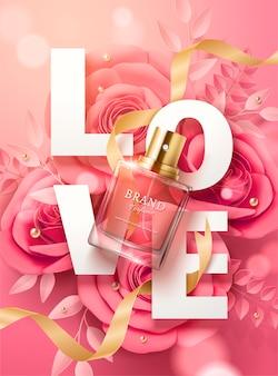 Schöne parfümanzeigen mit papierblumen und -band in der 3d illustration, draufsicht