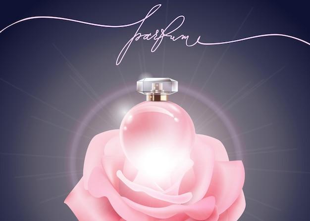 Schöne parfümflasche rosa weibliches parfüm und rosa rose schönheits- und kosmetikhintergrund vector