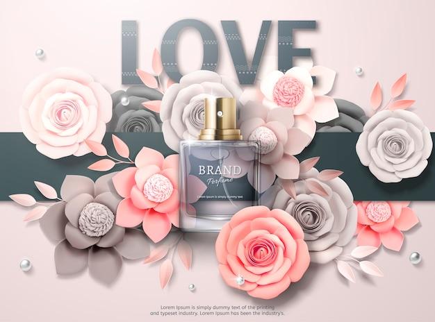 Schöne parfümwerbung mit hellgrauen und rosa papierblumen in der 3d-illustration