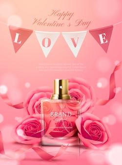 Schöne parfümwerbung mit papierblumen und hängenden flaggen in der 3d-illustration