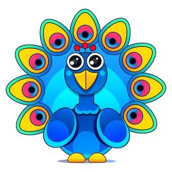 Schöne pfau-cartoon-vektor-illustration-idee für kinder und kinder druckbare sachen und t-shirt, grußkarte, kinderzimmer-wandkunst, postkarte