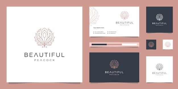 Schöne pfau- und visitenkartenschablone des logoentwurfs. minimalistische luxus-modelinien, schmuck, salon, spa.