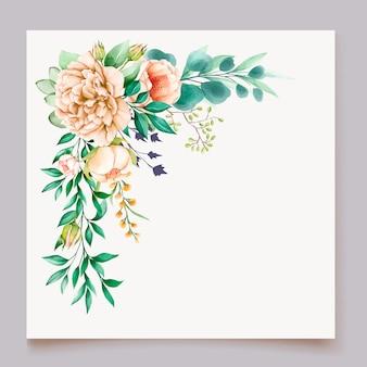 Schöne pfingstrose blühende blume aquarellhochzeitskartenschablone