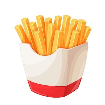 Schöne pommes frites in kartonverpackung