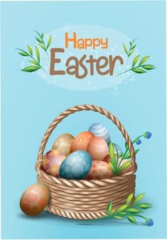 Schöne postkartenschablone mit weidenkorb mit verzierten eiern und grünem zweig. blauer hintergrund. glücklicher ostertext. realiktische illustration für religiösen frühlingsfeiertag