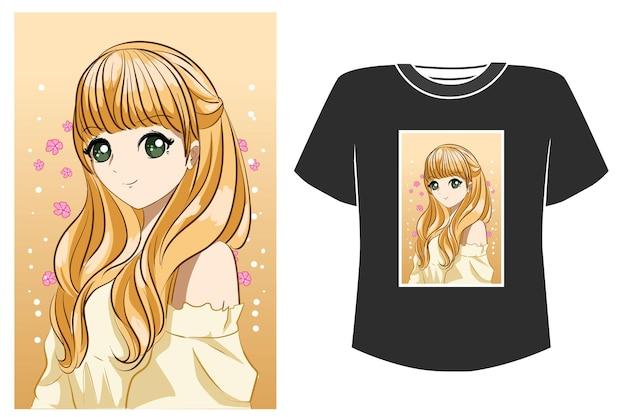 Schöne prinzessin blonde haar cartoon illustration