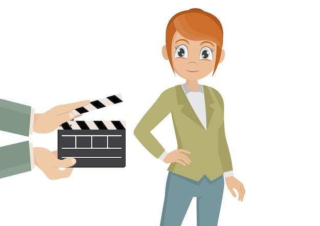Schöne professionelle schauspielerin, die auf set-vektor-cartoon agiert