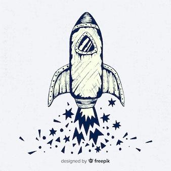 Schöne rakete mit handgezeichneten stil
