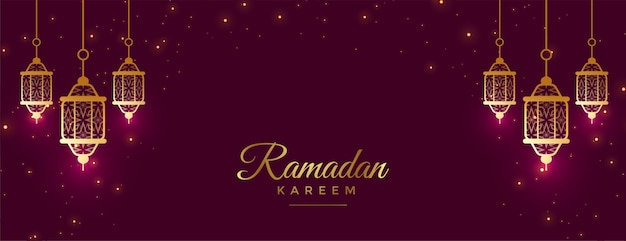 Schöne ramadan kareem feier banner mit lampen dekoration