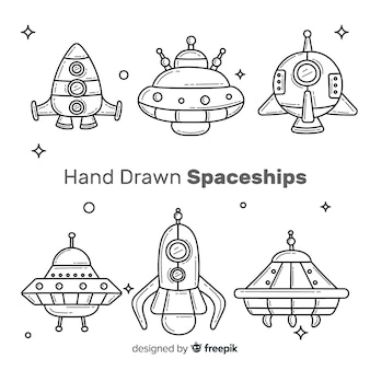 Schöne raumschiffsammlung mit hand gezeichnetem stil