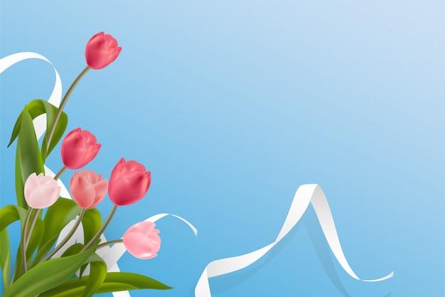Schöne realistische rote und rosa tulpenblume gesetzt auf weichen pastellhintergrund.