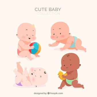 Schöne reihe von babys mit flachem design