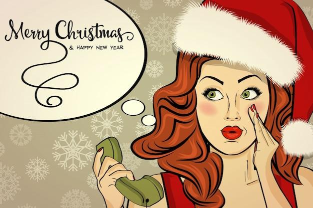 Schöne retro christmad karte mit sexy santa