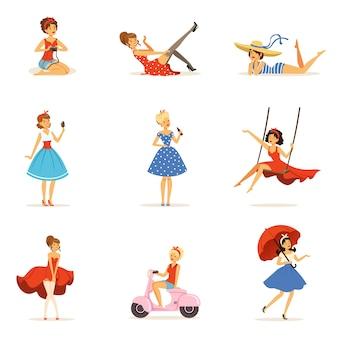 Schöne retro-mädchencharaktere setzen, junge frauen, die kleider in den bunten illustrationen des retro-stils auf einem weißen hintergrund tragen