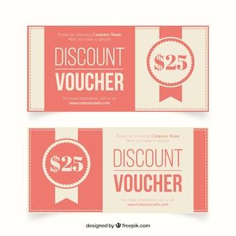 Schöne retro-rabatt-coupons für restaurant