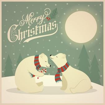 Schöne retro weihnachtskarte mit eisbärenpaaren