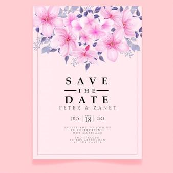 Schöne rosa aquarellhochzeitsereigniseinladungsfliegerblüte blühbar bearbeitbare vorlage