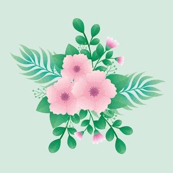 Schöne rosa blumen und blätter grün dekorative ikonen design
