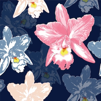 Schöne rosa orchidee des nahtlosen musters blüht auf dunkelblauem farbhintergrund