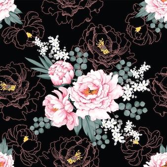 Schöne rosa pfingstrosenweinleseblumen des nahtlosen musters