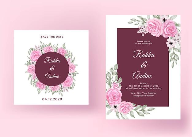 Schöne rosa rosenhochzeitskartenschablone