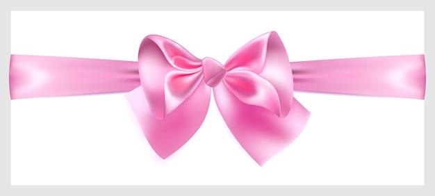 Schöne rosa schleife mit seidenband, horizontal angeordnet
