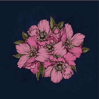 Schöne rosafarbene blumen auf blau
